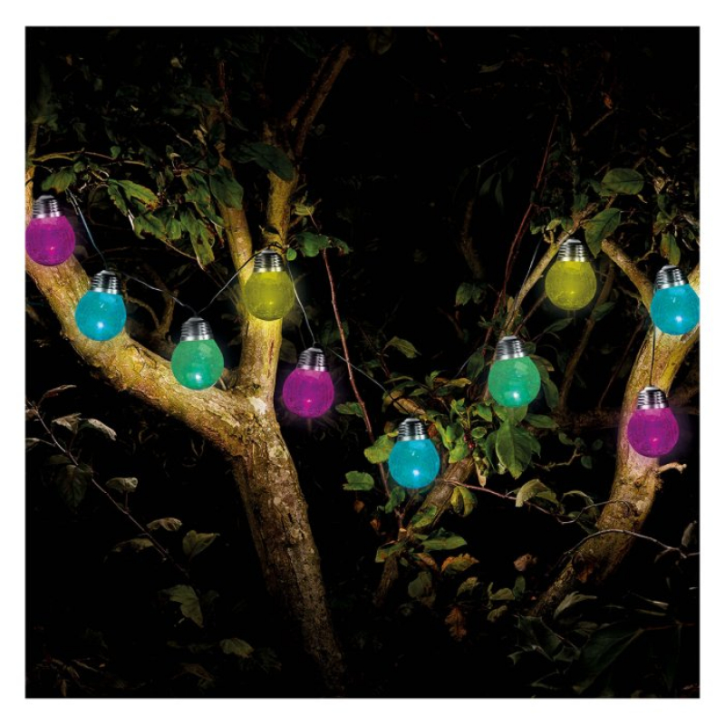 Set of 10 Solar Powered Crackle Globe Fairy Lights 1060257