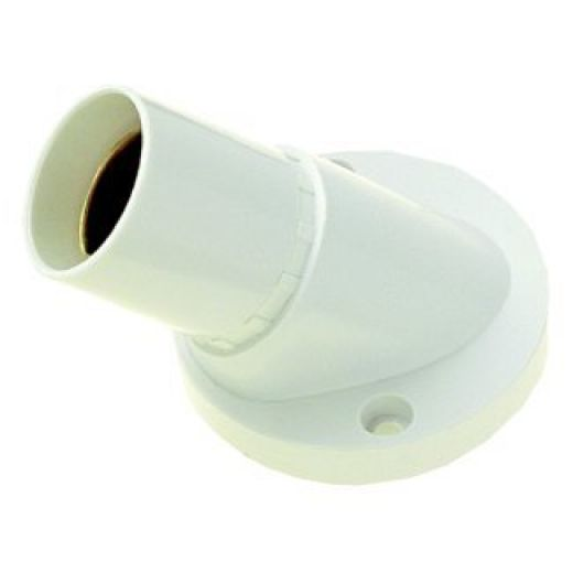 BC Angle Short Skirt White, 3 Terminals T1 Batten Lampholder