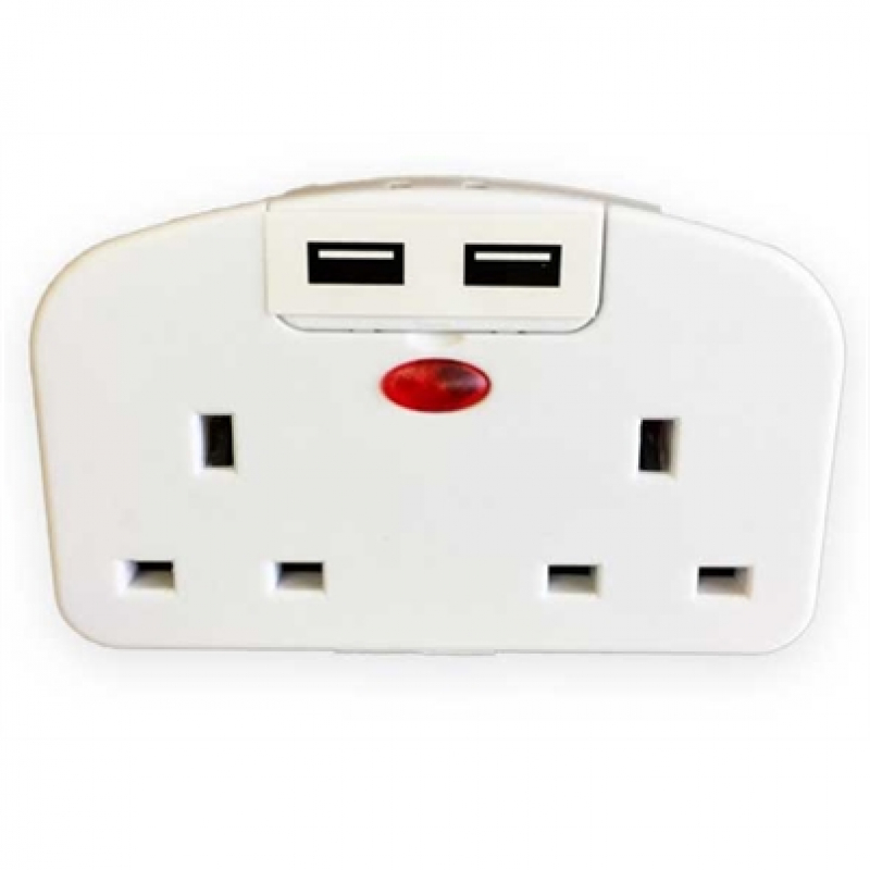 European 2 Plug Travel Adaptor with 2 USB Ports
