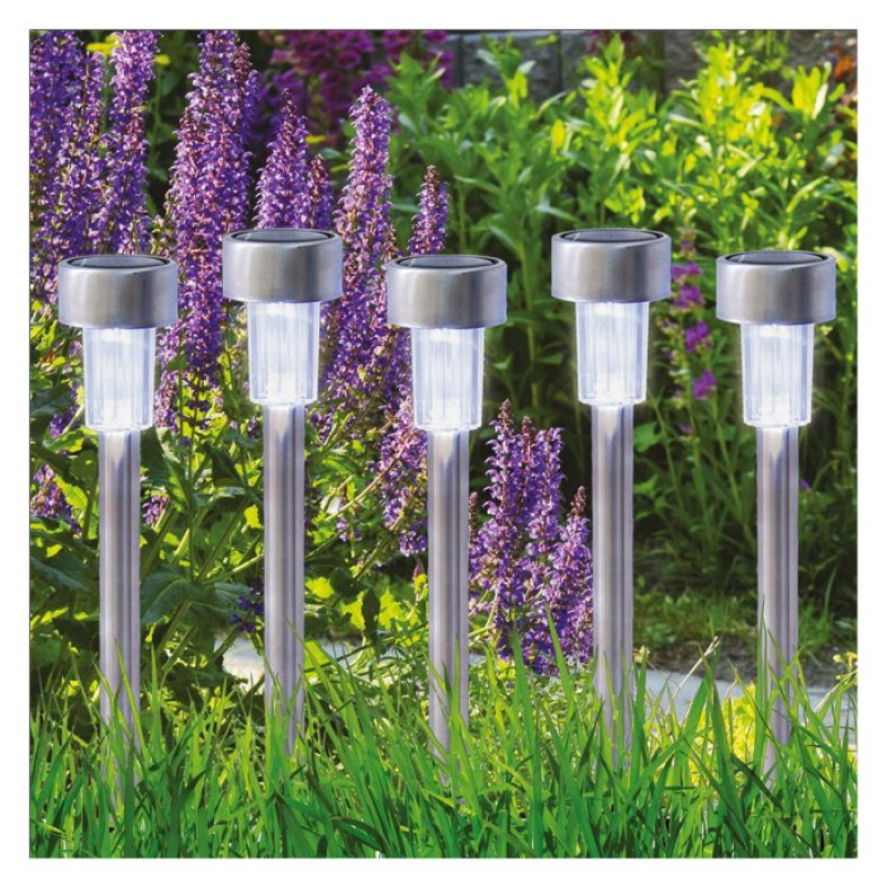Set of 10 Solar Powered Stainless Steel Stake Lights 17680