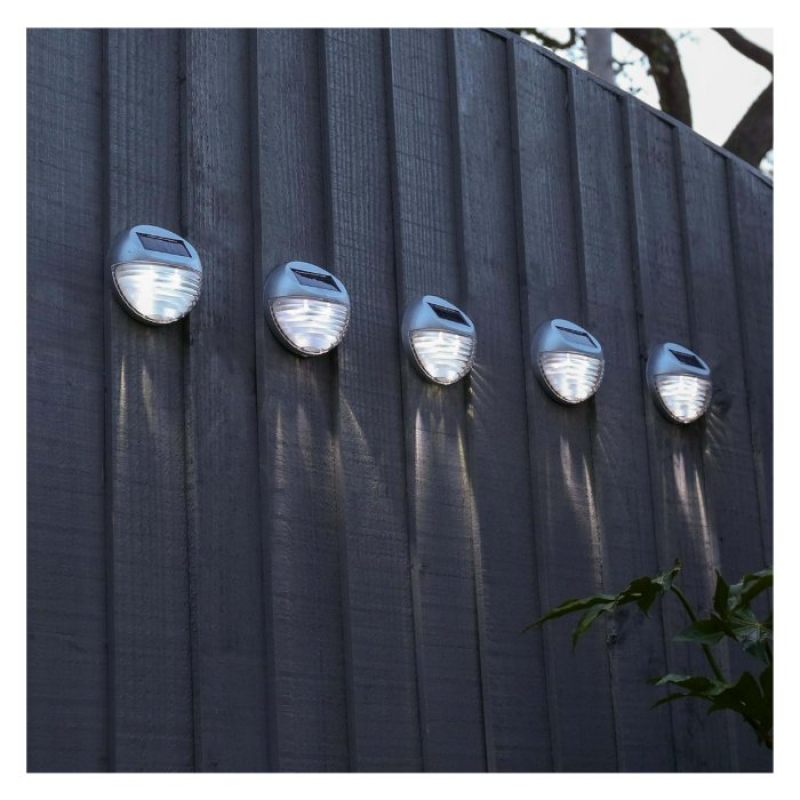 Set of 5 Solar Powered LED Fence Wall Light 17730