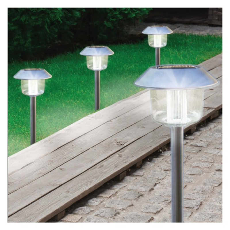 Set of 4 Solar Powered Stainless Steel Stake Lights 17870