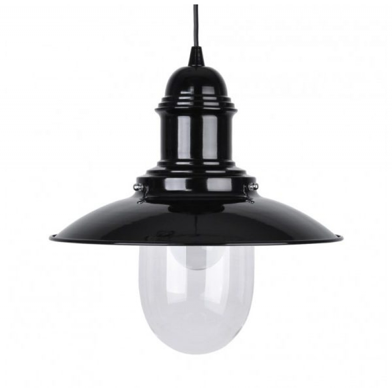 Fishermans 18020 Black Nautical Ceiling Pendant & Glass Shade