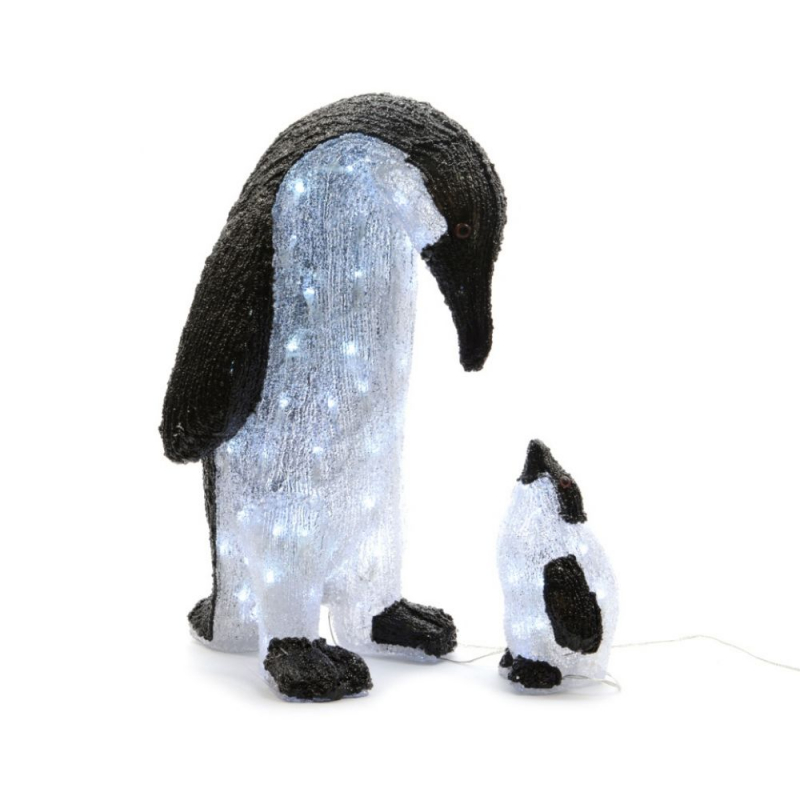 Kaemingk Cool White LED Outdoor Acrylic Penguin With Baby