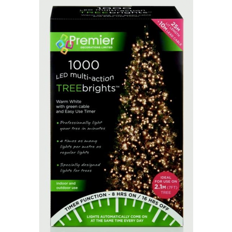 Premier Multi-Action Treebrights With Timer 1000 Warm White LEDs
