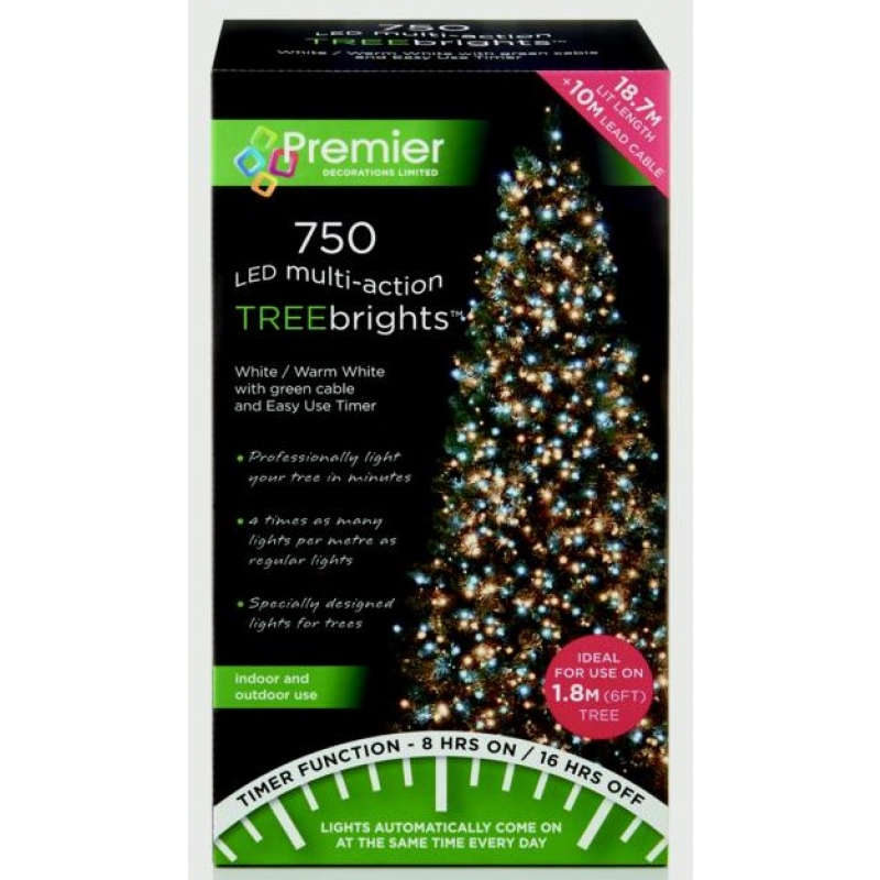 Premier Multi-Action Treebrights With Timer 750 Warm White LEDs