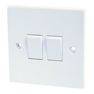 Standard White 10A, 2 Gang, 2 Way Switch