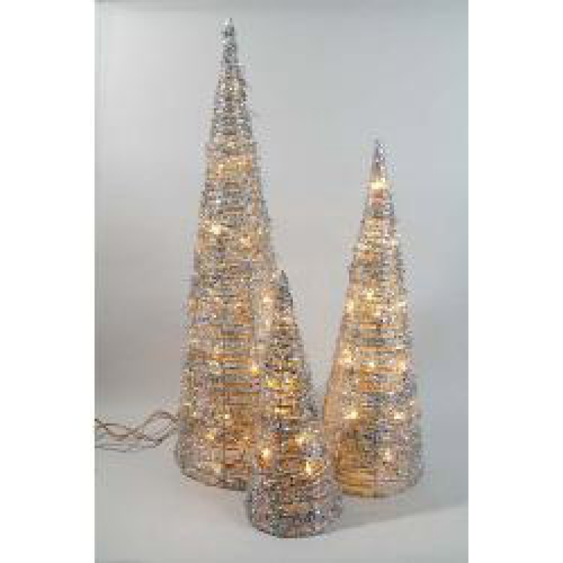 Silver Rattan Cones – Christmas and Festive Lights 465059