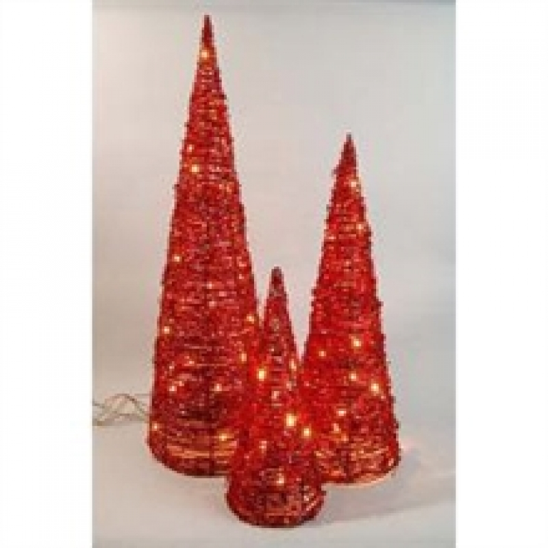Indoor Christmas Lighting – 3 x Red Rattan Cones Christmas and Festive Lights