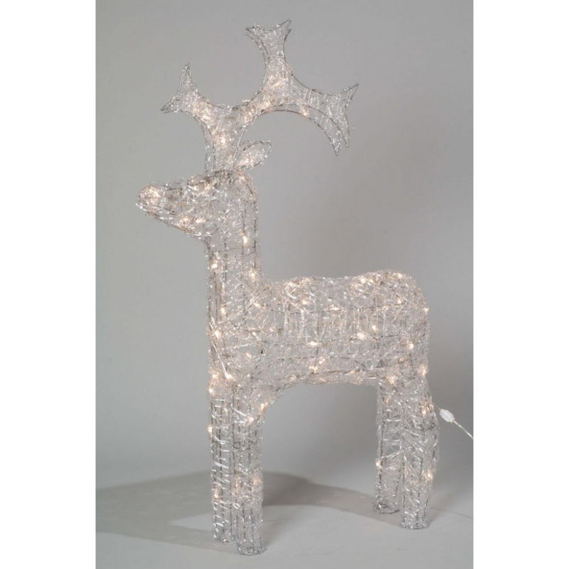 90cm Outdoor Acrylic Standing Reindeer with Warm White LEDs