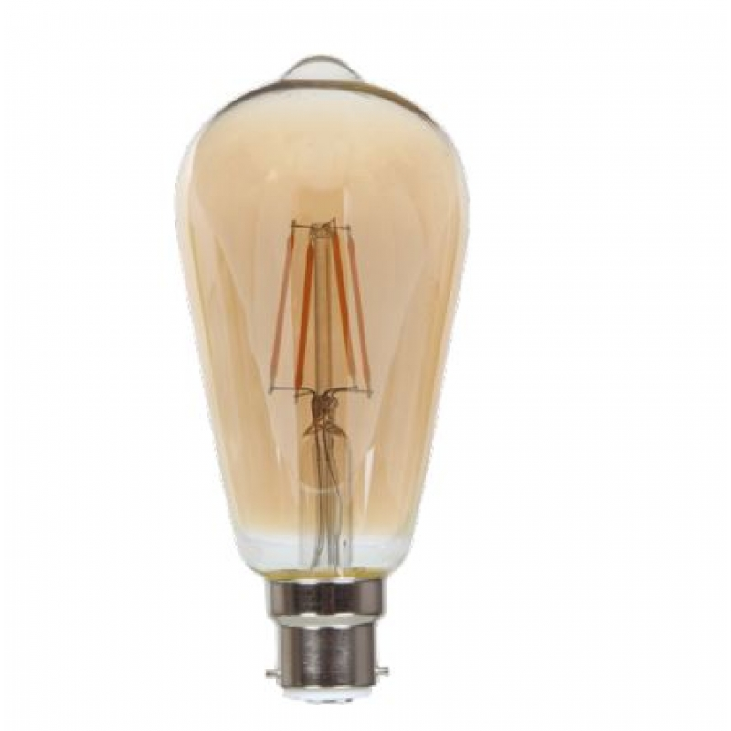 VLED Gold Tint ST64 Squirrel Cage LED 5w BC/B22D Dimmable FIL072