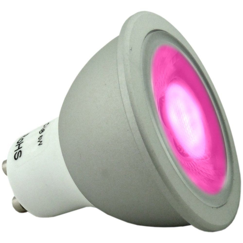 6 watt Super Bright Dimmable Magenta Coloured GU10 LED Light Bulb