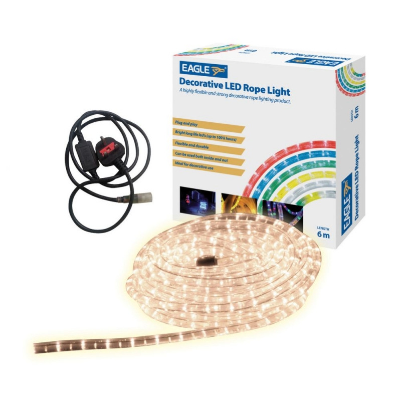 6 Metre LED Rope Lights In Ice White G601AE Indoor and Outdoor Use
