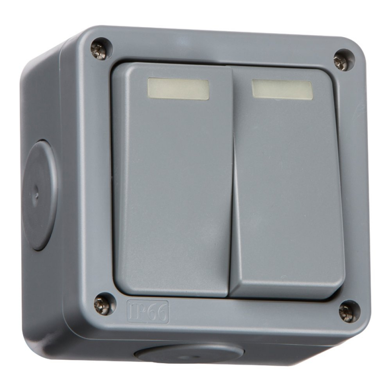 Knightsbridge IP66 10A 2Gang 2-Way Outdoor Switch IP3000