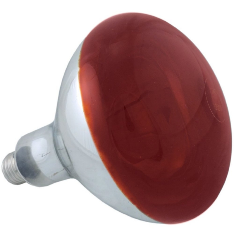 Infrared 250W E27/ES Red Hard Glass Heat Light Bulb