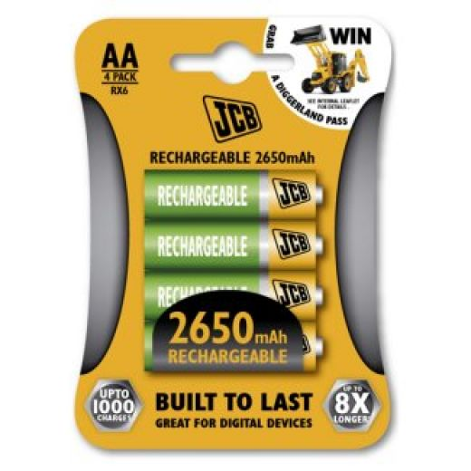 Rechargeable AA Batteries JCB Brand