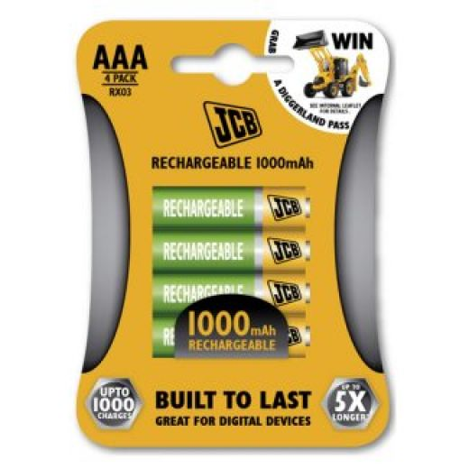 Rechargeable AAA Batteries JCB Brand
