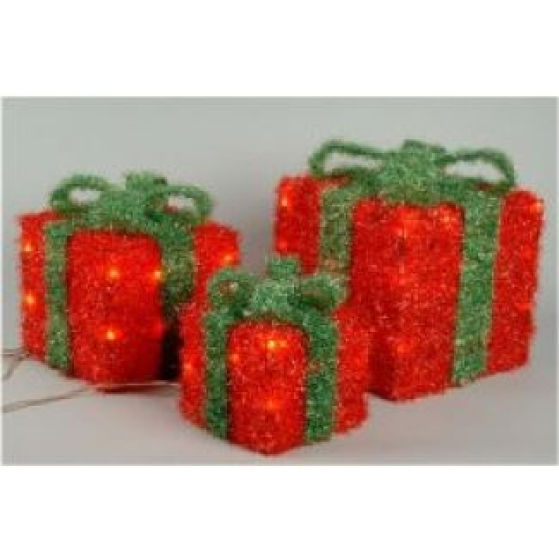 Red Illuminating Gift Boxes With Green Bow -  727265