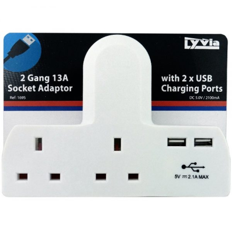 1695 2 Gang 13a Socket Adaptor 2 USB Charging Ports