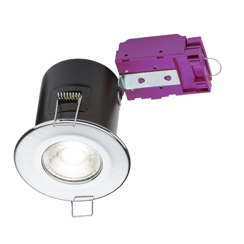 Knightsbridge 230V Fixed GU10 Fire-Rated Downlight Chrome