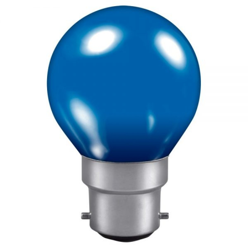 Blue 240v 15w Golf Ball BC Vacuum Filled Incandescent Lamp