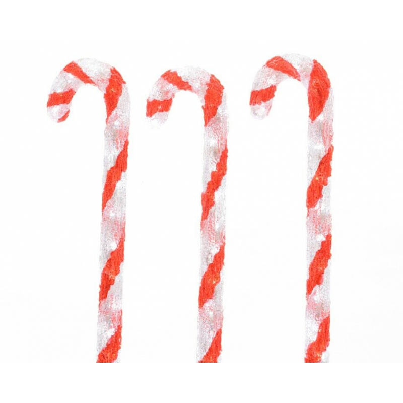 Kaemingk Outdoor LED Xmas Acrylic Candy Canes x 3 60cm