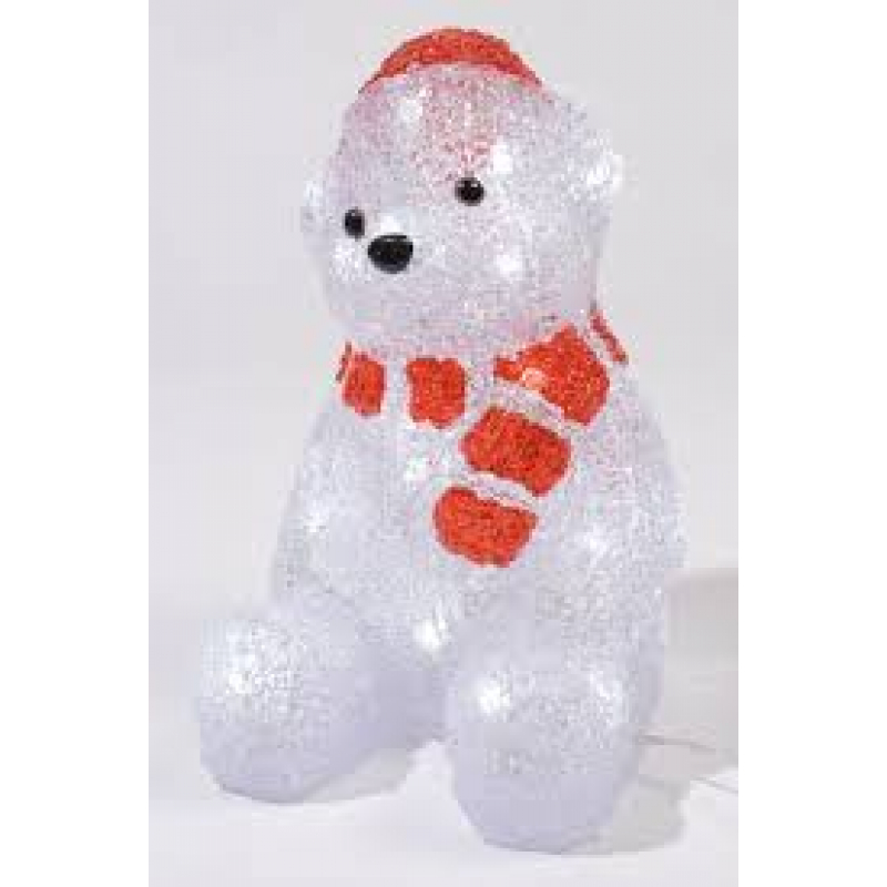 Kaemingk LED Outdoor Acrylic Bear With Scarf Cool White