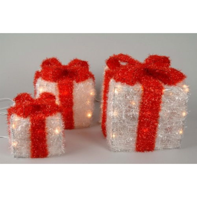White Illuminating Gift Boxes With Red Bow -  727294