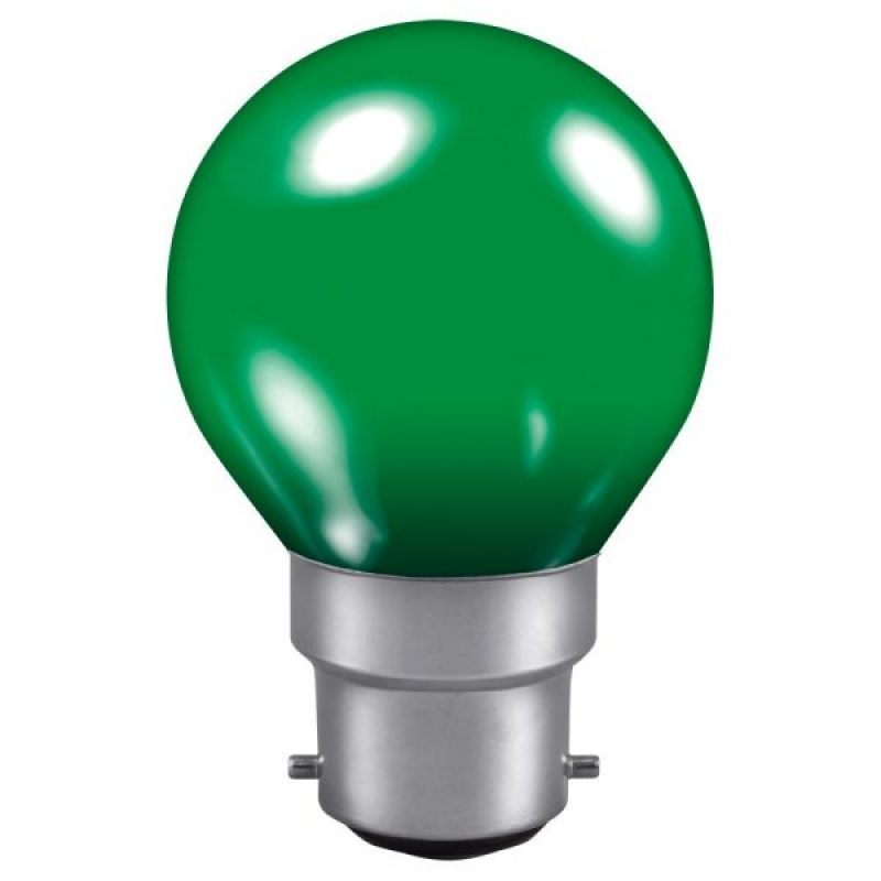 Green 240v 15w Golf Ball BC Vacuum Filled Incandescent Lamp