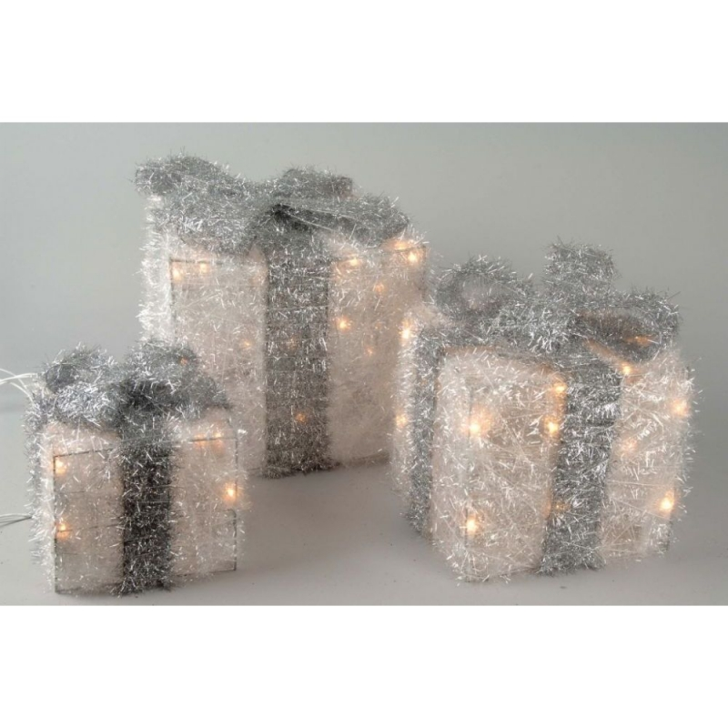 White Illuminating Gift Boxes With Silver Bow - 361655