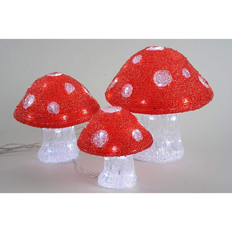 Kaemingk LED Outdoor Acrylic Mushroom Lights x 3