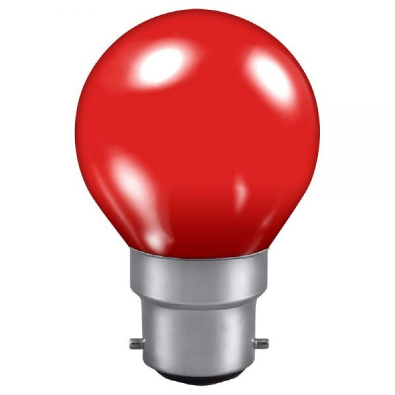 Red 240v 15w Golf Ball BC Vacuum Filled Incandescent Lamp