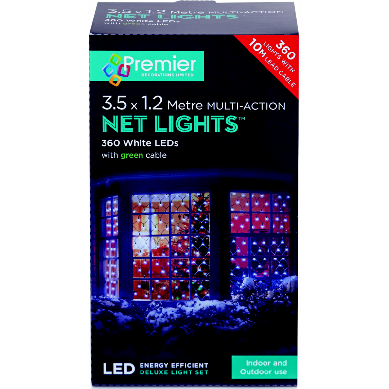 Premier Multi-Action LED Net Lights - White 3.5 x 1.2m